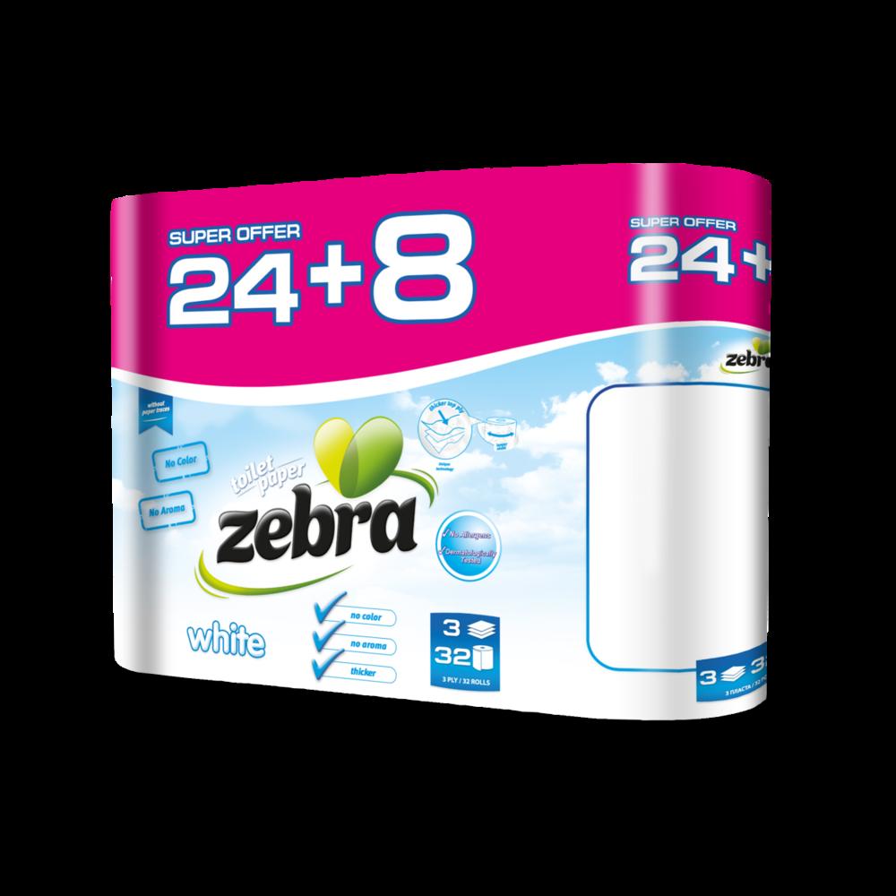 Toilet paper Zebra White 24+8 rolls 3800090303862.png
