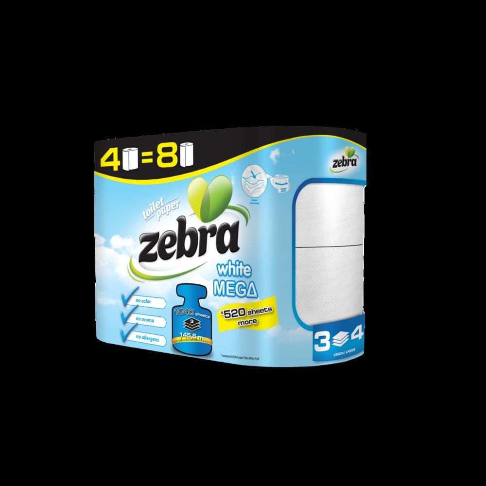Toilet paper Zebra White Mega 4 rolls 3800090304166.png