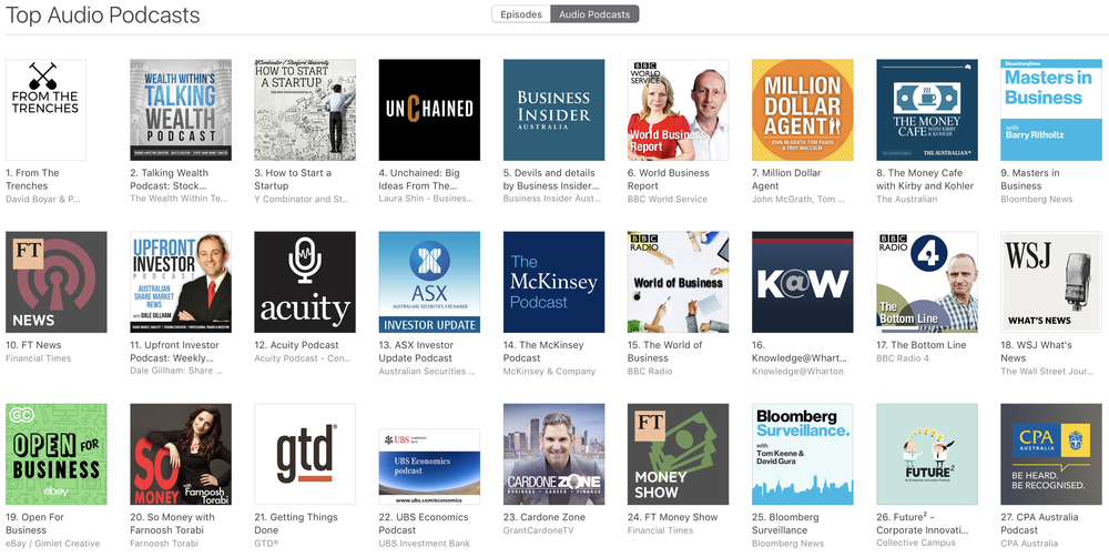 Time to define your podcast mini-series theme....  Picture Above showing a proud moment as our clients show From The Trenches topped the iTunes charts for the business category...