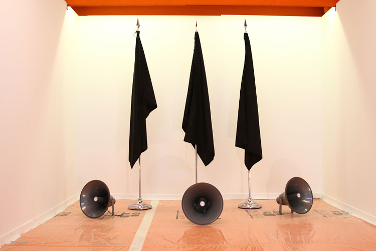 PIGS  ( P ortugal,  I reland,  G reek,  S pain). Sound installation and black flags. Variable dimensions. 2016.