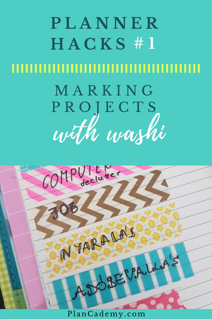 Planner hacks #1: Marking projects with washi