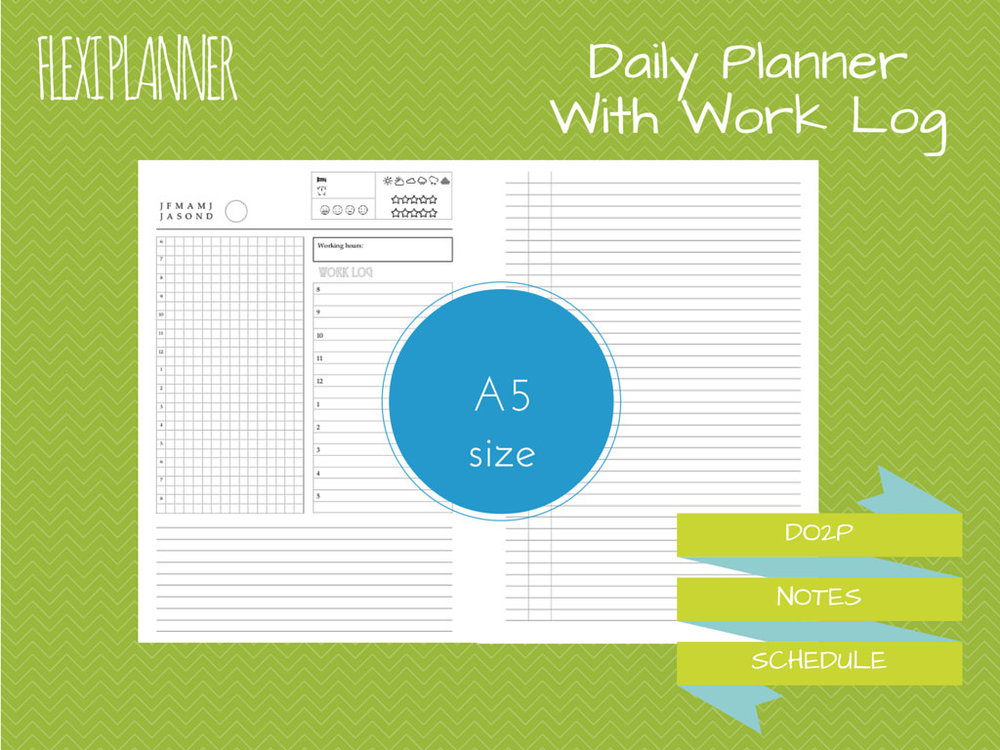 flexi planner a5 size filofax inserts daily planner with work log do2p undated instant download