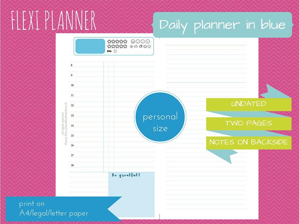blue design downloadable personal size filofax inserts Flexi planner do2p