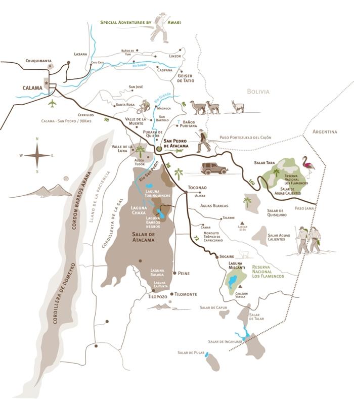 San Pedro de Atacama map — COLLECTING ROCKS TRAVEL