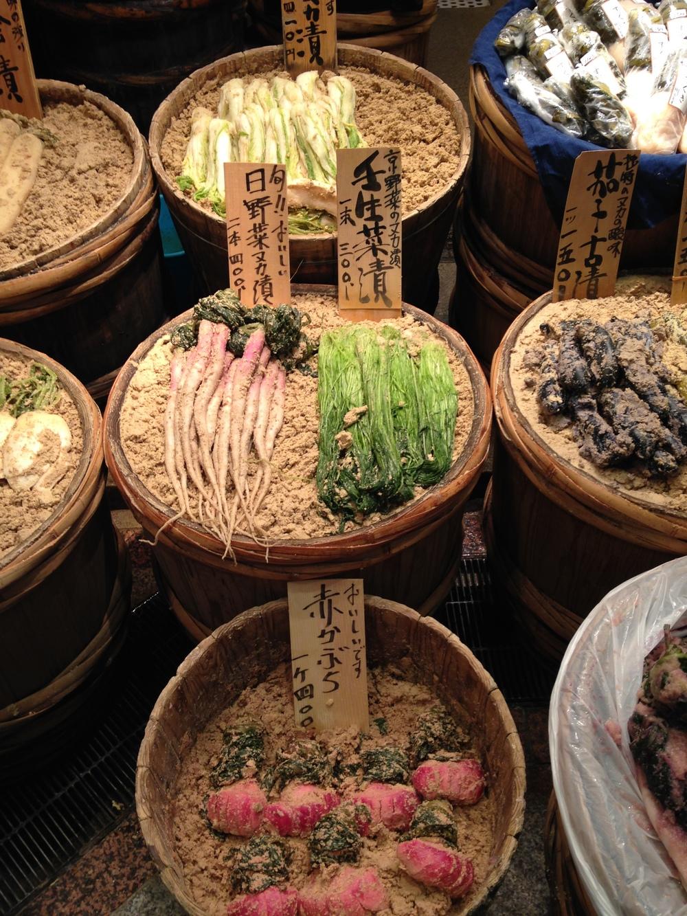 fermenting vegetables at Nishiki Market
