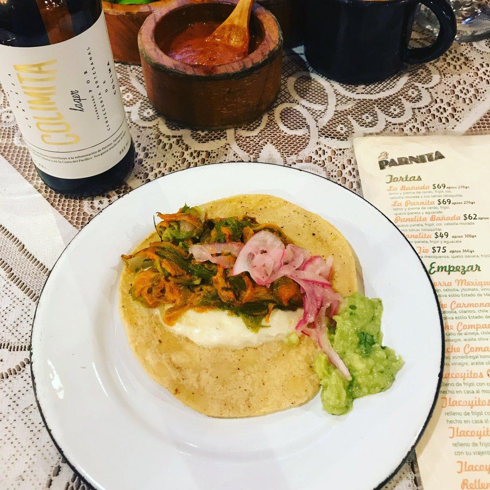 flor de calabaza tacos at El Parnita