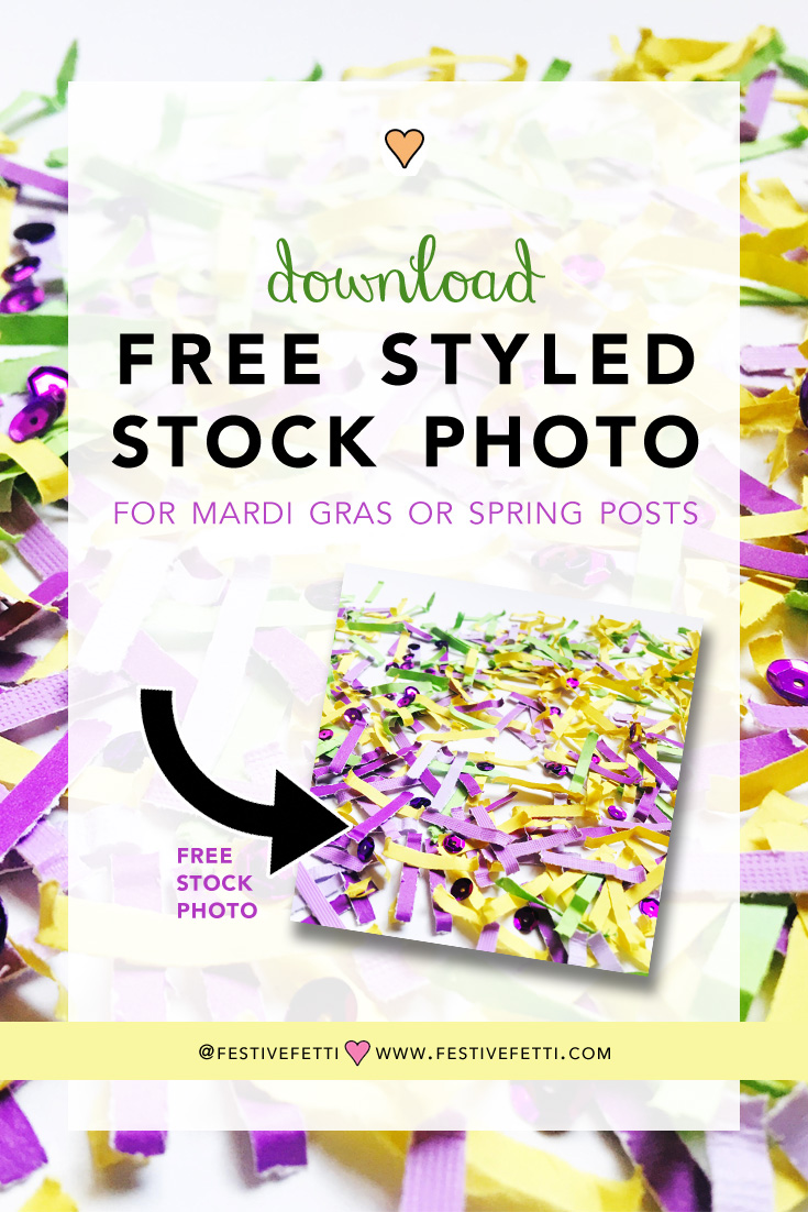 Click to Download a FREE Stock Photo for your Mardi Gras and Spring Posts featuring Festive Fetti Confetti