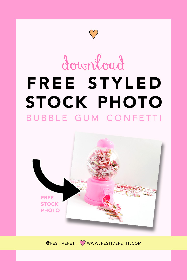 Click to Download your FREE Styled Stock Photo — Pink Bubble Gum Confetti featuring Festive Fetti - styled stock photography for social media marketing and blog posts — from www.FestiveFetti.com