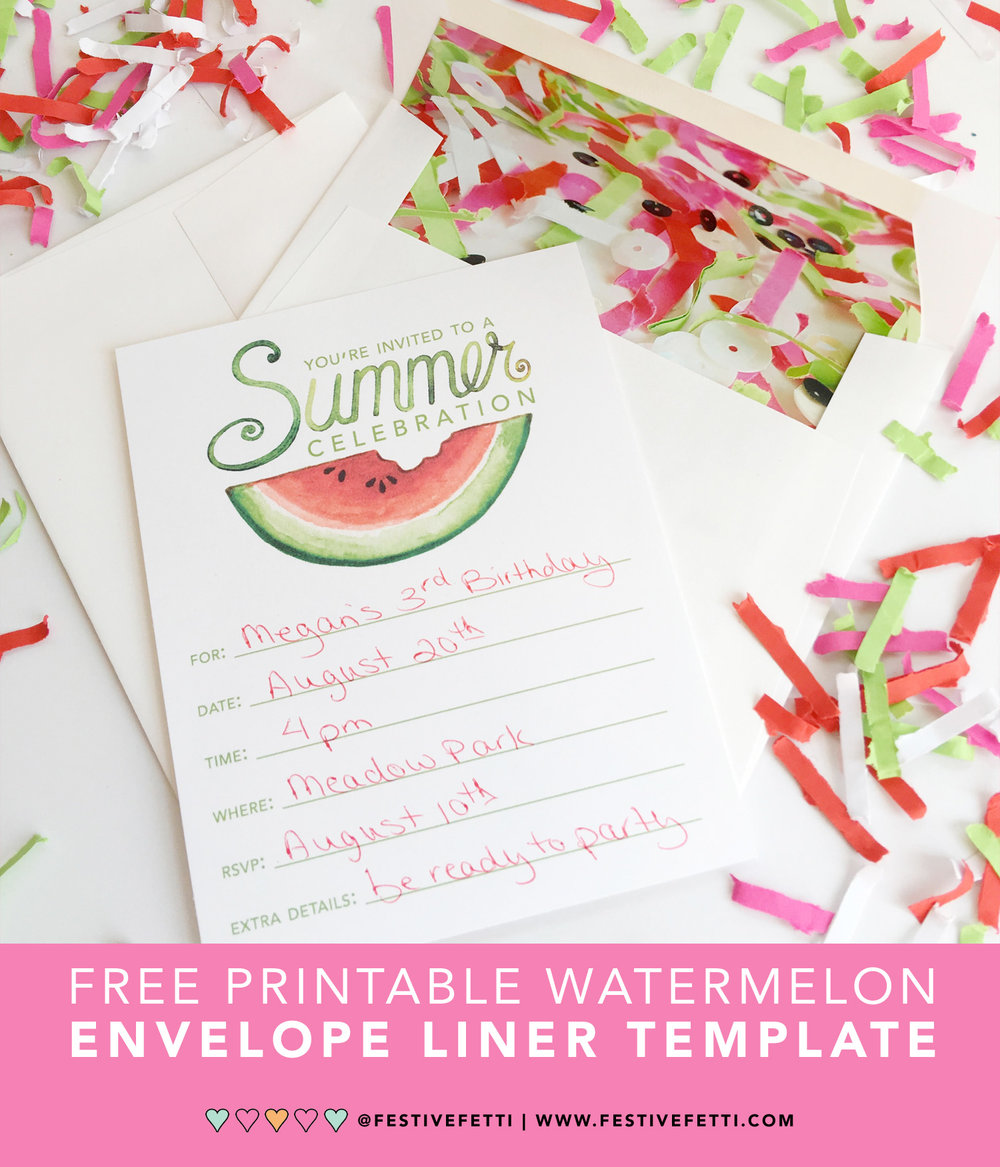 Download your Free Watermelon Envelope Liner Printable to wow your guests when their summer party invitation arrives in the mail / as seen on www.FestiveFetti.com