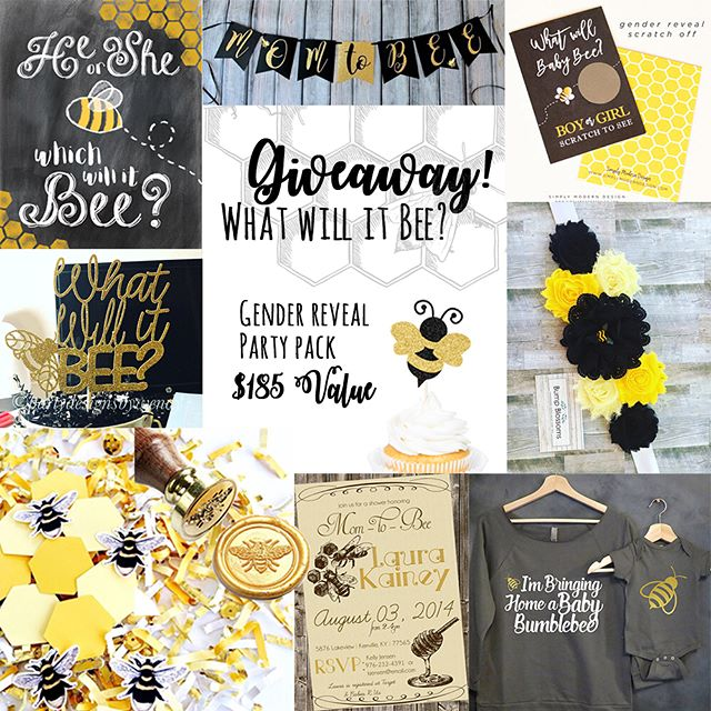 You loved the bee party theme 🐝 so much we decided it was time for a GIVEAWAY!! We have 10 amazing shops that want to help you celebrate that Mommy-to-BEE with a gender reveal or baby shower party package valued at $185! Enter for your chance to win awesome party supplies, invitations, and so much MORE! - HOW TO ENTER: 1. Follow each vendor listed below. 2. Like the giveaway post on each vendor's page. 3. Comment below, who's little honey would you be celebrating? 4. BONUS ENTRIES - Tag friends who are expecting - AMAZING VENDORS: @kudzumonster: He or She which will it Bee? Digital Printable @sugarpartiesLA: Mom to Bee banner @simplymoderndesign: (10) Gender Reveal Scratch Off cards @palenciagrovepaperdesign : (12) bee cupcake toppers @bumpblossoms: Bee sash for mommy to bee @hellohandpressed: Mommy and me bumblebee shirt set @designsbykepi: Party invitation (shop credit- you choose baby shower or gender reveal) @halfpintdesign: honey bee wax seal @festivefetti: (2) bags custom Bee theme confetti @partydesignsbywendy: What Will It Bee? Cake topper - IMPORTANT: Be sure to follow ALL vendors. The Giveaway runs through Saturday, April 28, 2018 at 8pm MST. The winner will be selected at random and posted here Monday April 30, 2018 by 8pm. Winner will have 24 hours to claim the prize or another winner will be selected. - This contest is not sponsored or endorsed by Instagram Inc. By entering, you release Instagram of any liability and agree to their terms of use. Open to US and Canadian residents only. Must be 18+ to enter. Void where prohibited. - - - - - #genderreveal #genderrevealparty #babyreveal #babyshowerideas #babyshowers #imsomartha #whatwillitbe #kidspartyideas #etsyhandmade #heorshe #boyorgirl #beetheme #beeparty #mommytobee #babycomingsoon #partyideas #partytheme #creativeentrepreneur #celebrateinstyle #etsygiveaway #celebrateeveryday #abmlifeissweet #myunicornlife #chooselovely #makeyousmilestyle #etsysellersofinstagram #pregnantmama #mamatobe #festivefetti