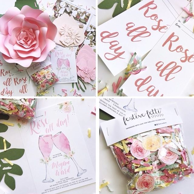 "Rose All Day Giveaway 💗🍷 Enter to Win ALL these items to add a special touch to your event! Giveaway includes: - 3 @festivefetti Confetti packs in pastel pink, yellow and green mini roses with sparkly sequins - 8 Rose All Day @tagyoureitpaperie wine tags - 10 Printed Invitations from @tigerlilyinvitations (or a printable file if preferred) - 3 DIY @paperflora flower kits for you to create your own paper flower display - To enter and win: 1. Follow all 4 accounts listed above 2. ""Like"" and ""Comment"" on any 3 of our last posts - That's it! Open to residents of the US. Giveaway runs 4/27/18 9:00 am PST through 4/29/18 midnight PST. Winner will be announced Monday 4/30. This giveaway is not sponsored or endorsed by Instagram. - - - - - #roséallday #partyinspiration #marthaweddings #designisinthedetails #ihavethisthingwithpink #imsomartha #sobestfriendsforfrosting #partyshop #handmadebiz #seekinspirecreate #etsyhandmade #bhgcelebrate #bridalshowers #bridalshowerdecor #tyingtheknot #paperflowers #paperroses #papercrafter #bridalshowerideas #abmlifeisbeautiful #pinkflashesofdelight #studiodiylovespink #festivefetti #pinkflowers #misstomrs #timeforwine #partyinvitations"
