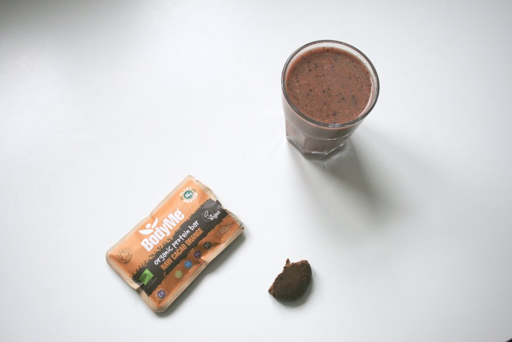 Breakfast: BodyMe Organic Protein Bar and a smoothie.