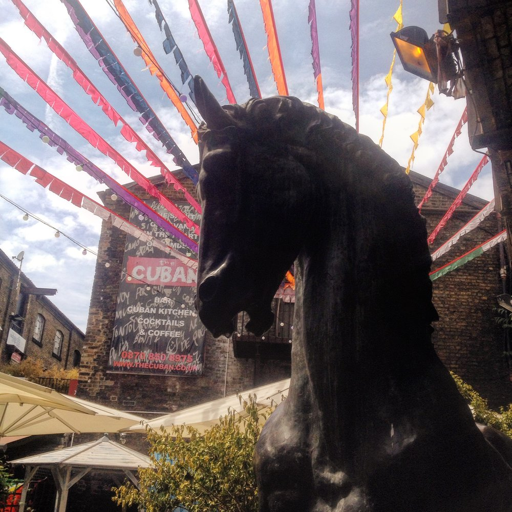 A statue of a horse near the Camden stables that are now converted in to the stalls of the Camden Lock Market.