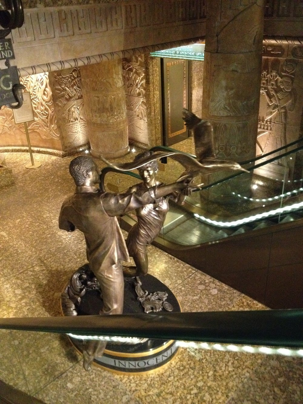 The Dodi & Diana memorial at the bottom of the Egyptian escalator