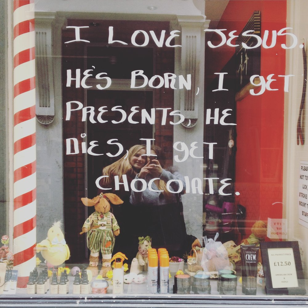 We found this quote on the window of a barber shop while wandering around the lanes in London
