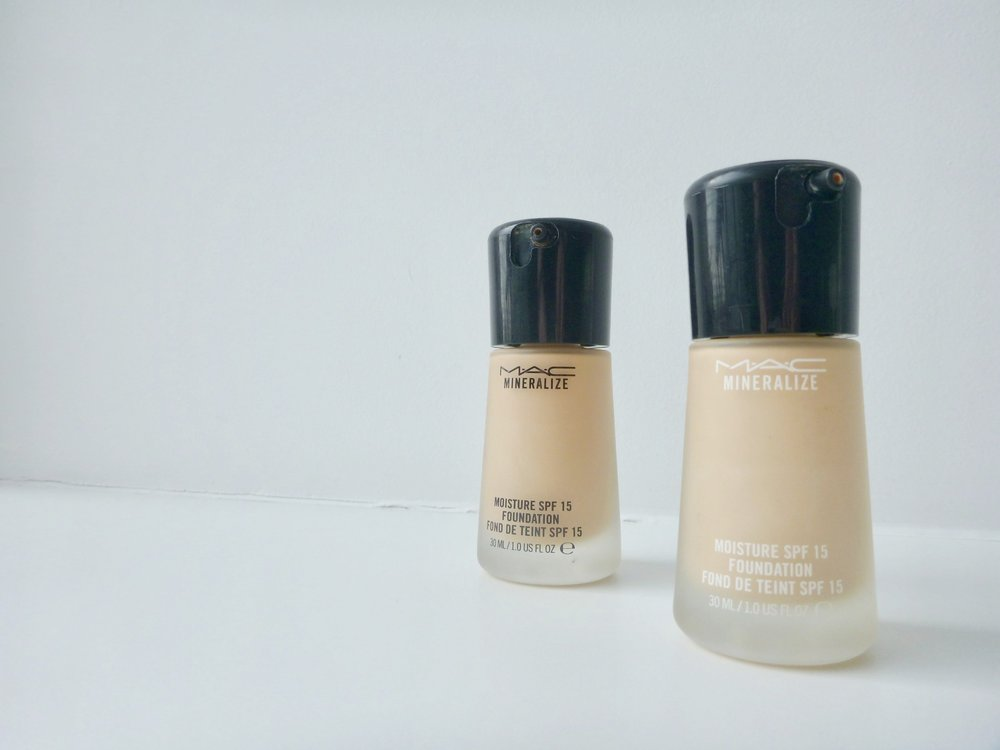 MAC Mineralize Moisture SPF 15 Foundation in NC25 (left) and NC20 (right)