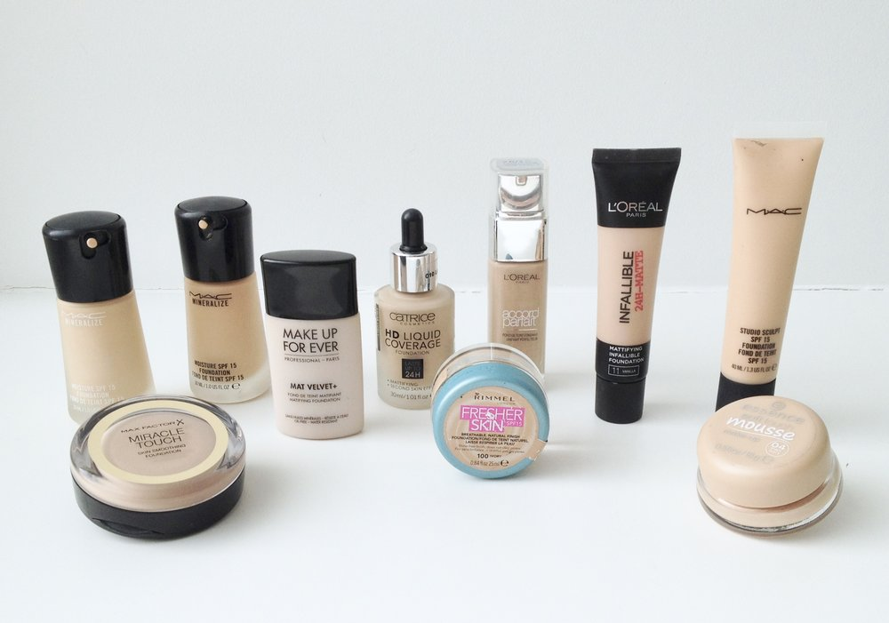 My complete foundation collection. Over the years I have accumulated quite a lot of them.