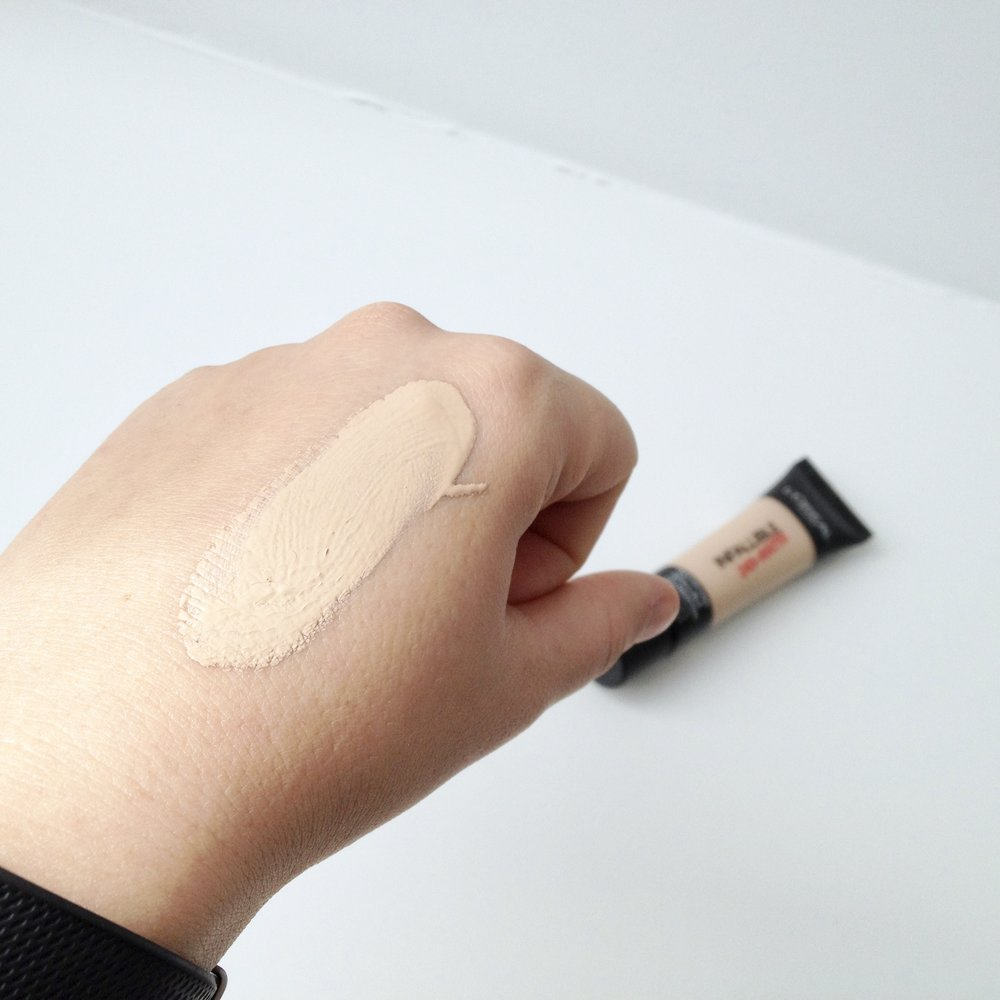 This foundation has a thicker consistency and is medium coverage.