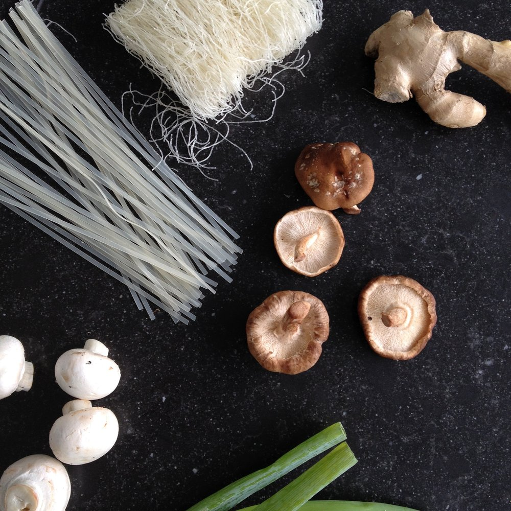 Some of the beautiful ingredients that are used to create this simple Vietnamese dish.