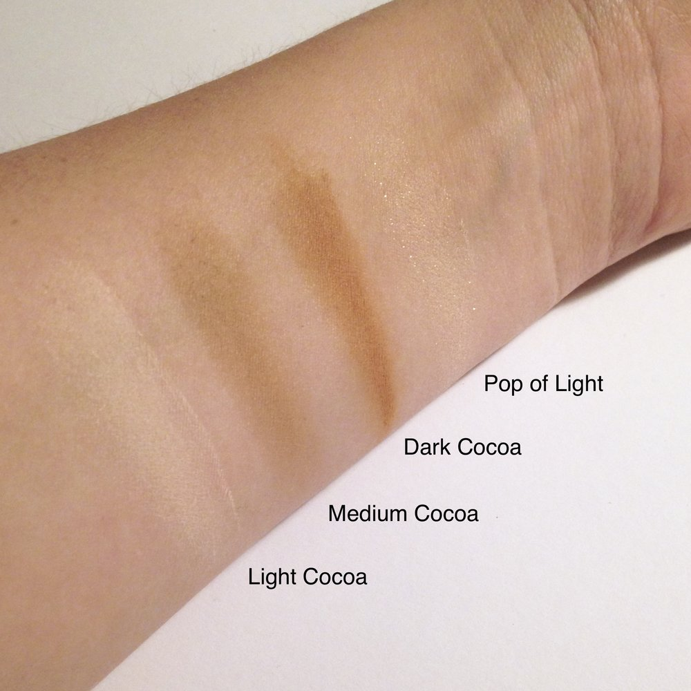 Swatches of the Too Faced Cocoa Contour palette