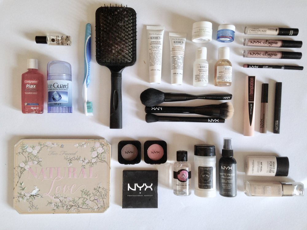 Everything I'm taking with me in my makeup bag