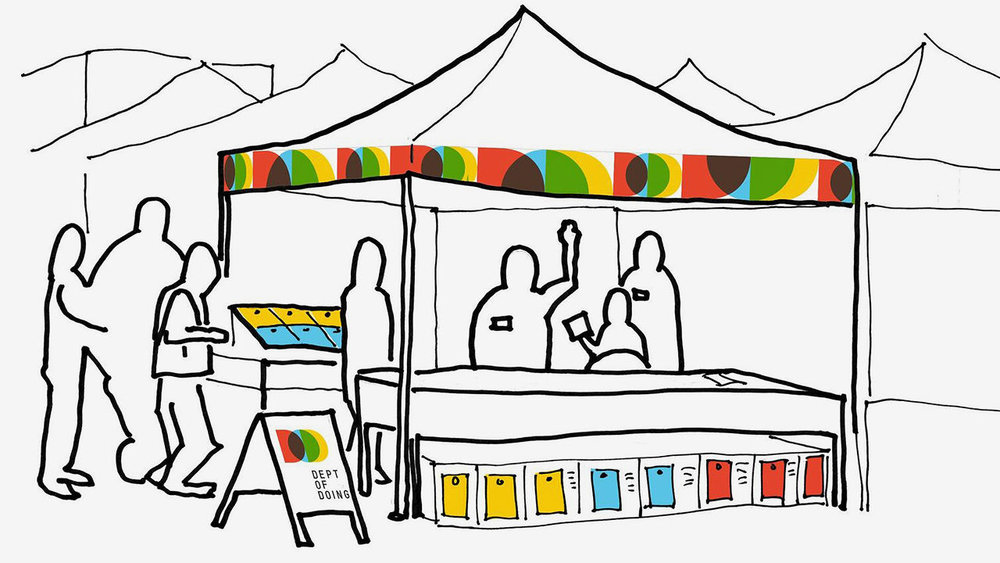 The Department of Doing takes many forms including farmer market popups to make it easier for citizens to interact with the City. Sketch by IDEO Design Lead, Scott Paterson, Image courtesy of IDEO.