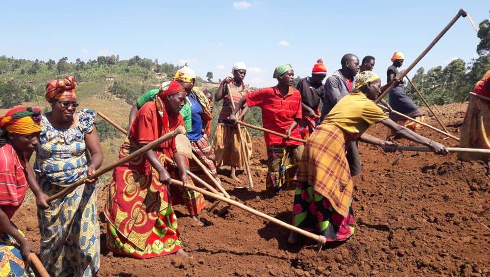 Women are ambitious. - Women coffee farmers trace the road leading to their new wet mill. Photo: JNP Coffee.