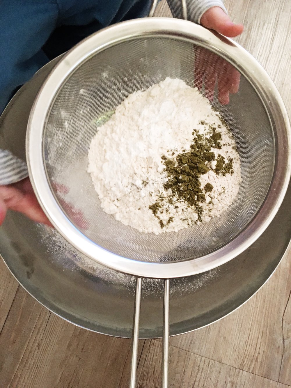 Sifting the dry ingredients