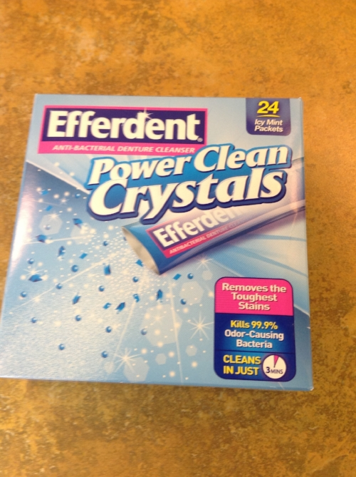 I learned a fantastic tip from one of our patients today. Here is how to keep your trays crystal clear- Buy Efferdent Powder Clean Crystals, Anti-Bacterial Denture Cleaner NOT THE TABLETS!!! ONLY AVAILABLE AT TOPS MARKETS He leaves his trays in the solution for a 1/2 hour as he gets ready in the morning.  Then uses a toothbrush and scrubs his trays in the solution.