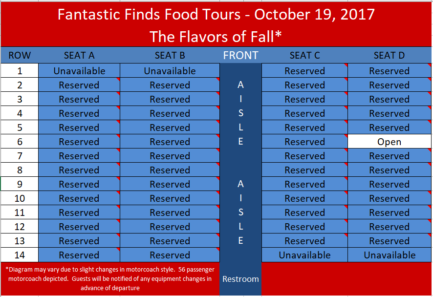 Please indicate your seat selection and indicate it on the form at check out.