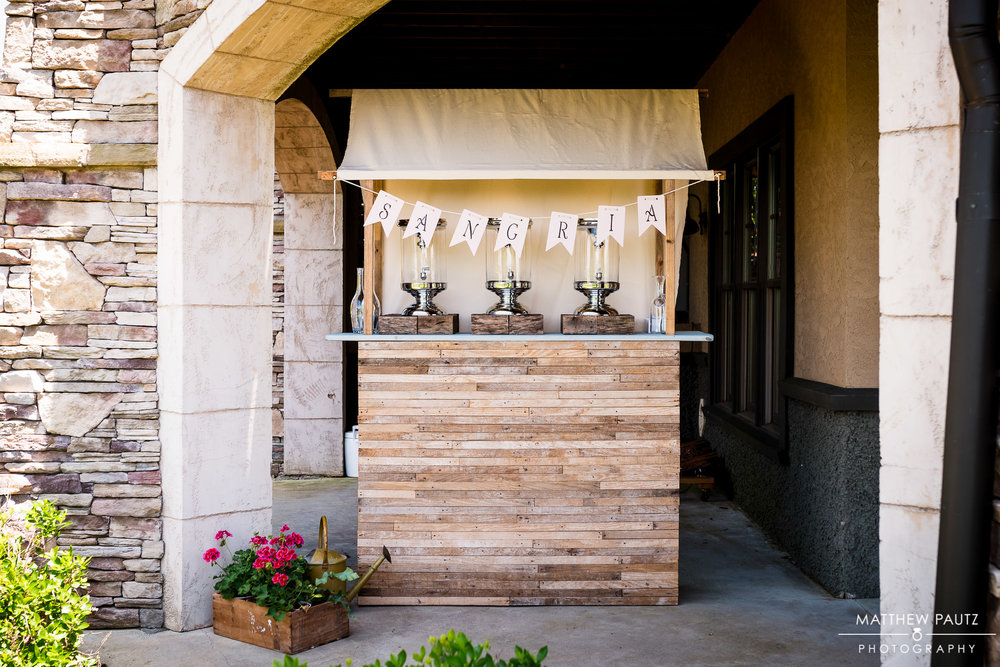 My Dad built this sangria bar specifically for my wedding day because he's super handy and just plain amazing. I had an idea and my dad brought it to vision better than I had even envisioned. Thanks Dad!