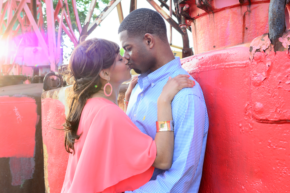 Neon District Norfolk Virginia engagement portrait Jan Casper Photography