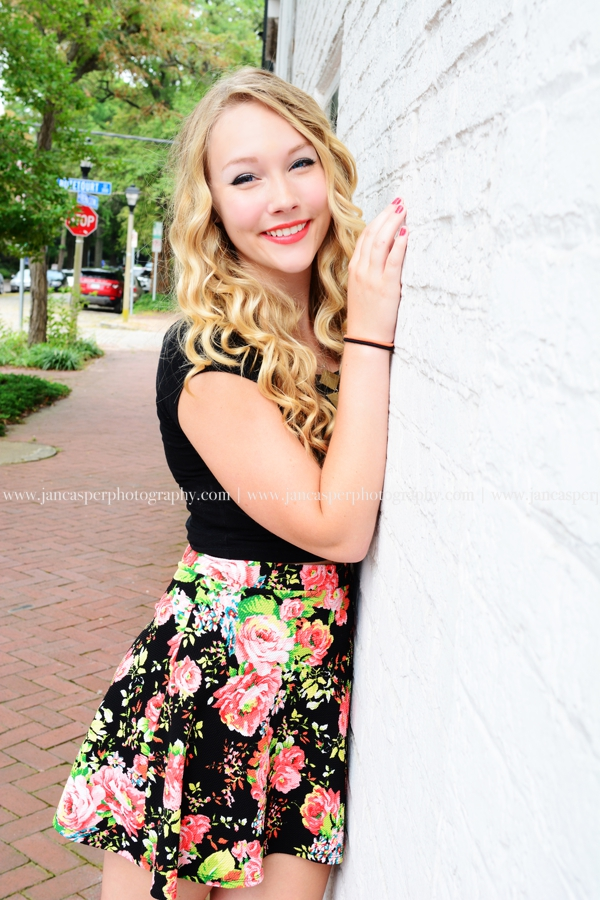Freemason street downtown Norfolk senior portrait Virginia Jan Casper Photography