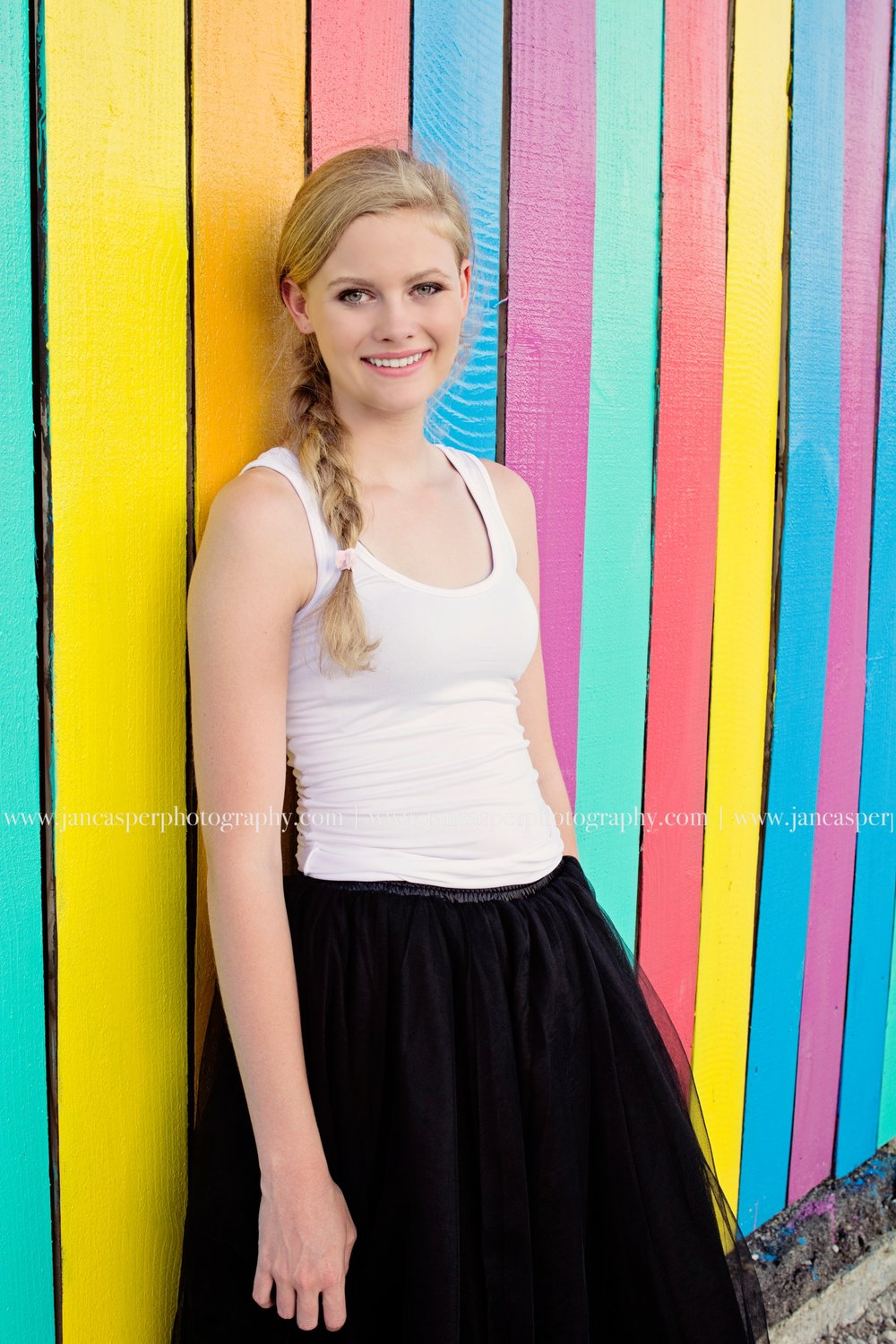 Norfolk Neon District senior portrait Jan Casper Photography