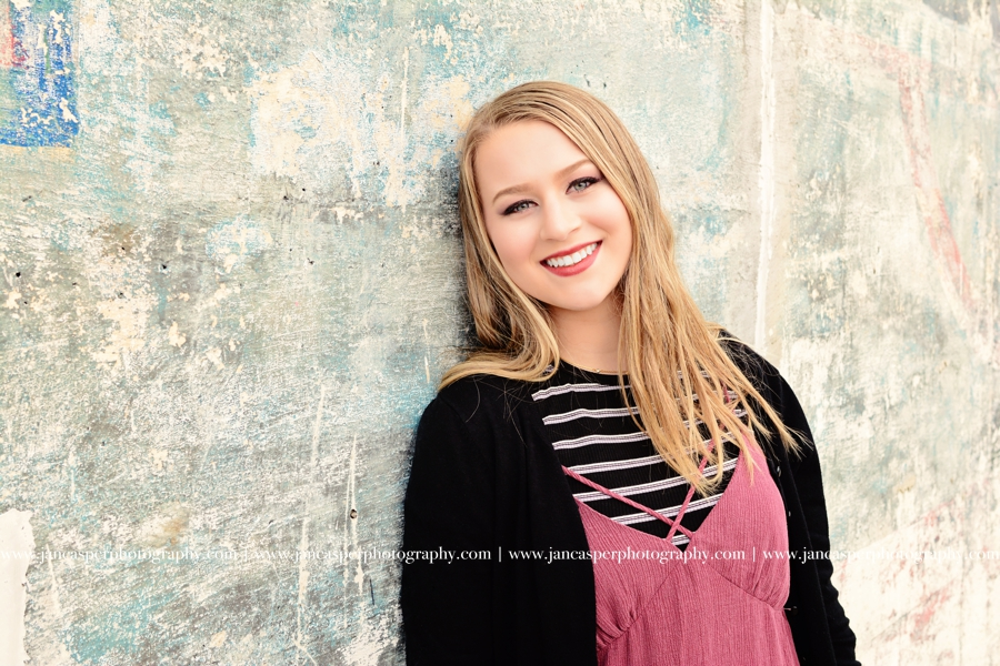 senior portrait Norfolk neon district Jan Casper Photography Virginia