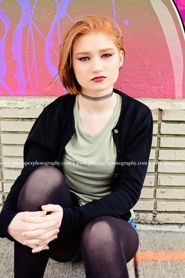 senior portrait neon arts district Norfolk Jan Casper Photography Virginia