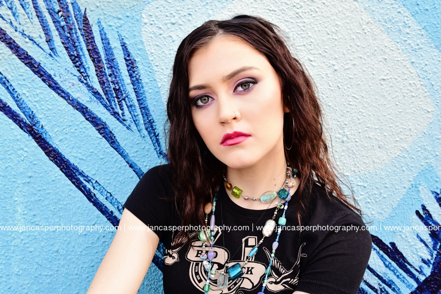senior portrait downtown Norfolk Jan Casper Photography Virginia Norfolk Neon Arts District