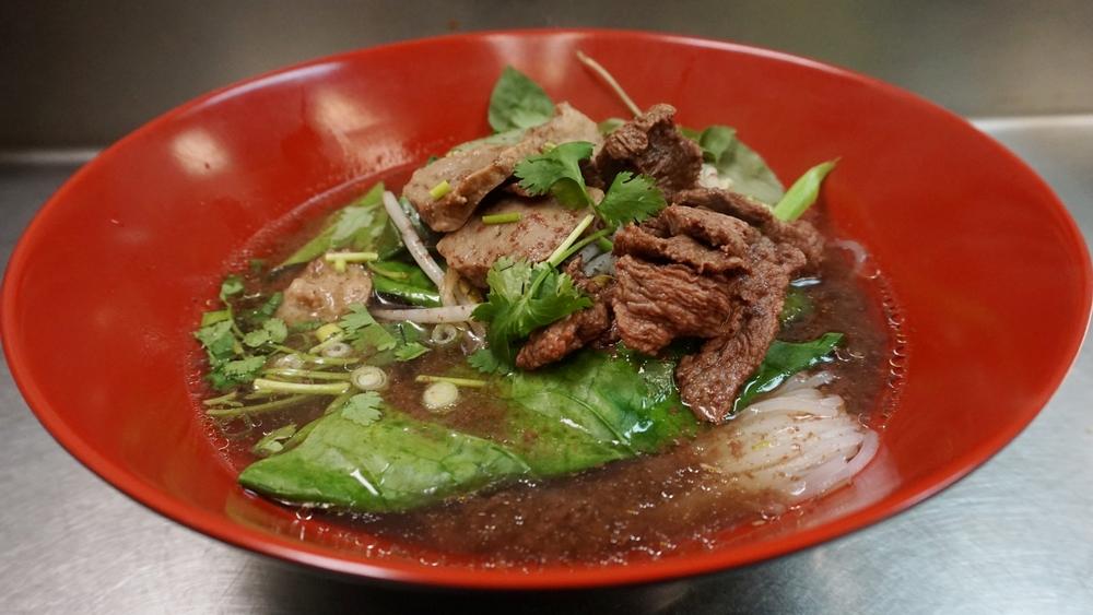 thai traditional noodle soup (boat noodle soup)