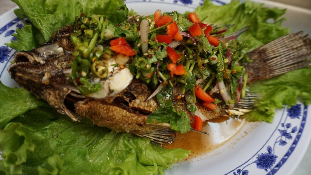 fried fish laab