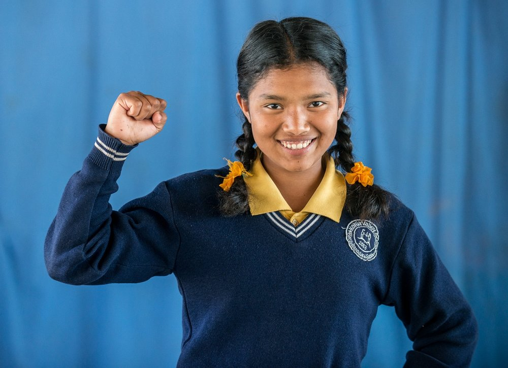 STF Scholar Alisha in Nepal is the first in her family to learn how to read and write. She plans to pay it forward by becoming a teacher when she graduates in 2024.