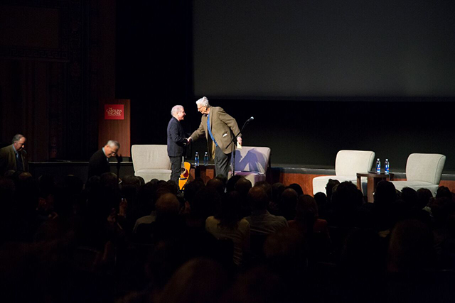 Multi-Grammy winner Paul Simon joins renowned biologist E.O. Wilson on stage in Durham. Photo by Chris Sims, E.O. Wilson Biodiversity Foundation.