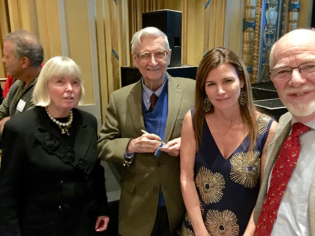 Cathy Stone (The James M. and Cathleen D. Stone Foundation), Edward O. Wilson, Paula Ehrlich (EOWBF President and CEO), Jim Stone (The James M. and Cathleen D. Stone Foundation)