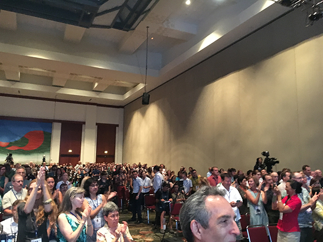 E.O. Wilson receives a standing ovation following his keynote address at the Opening Forum of the IUCN World Conservation Congress 2016.