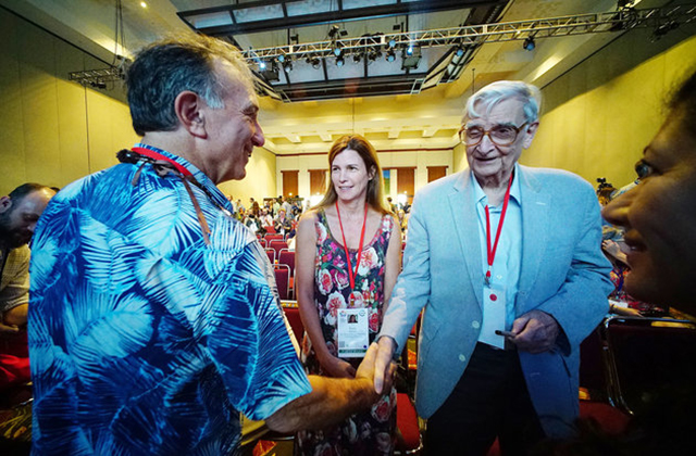 From left: Chairman & CEO of Conservation International Peter Seligmann, E.O. Wilson Biodiversity Foundation President & CEO Paula Ehrlich, and E.O. Wilson. Photo: CORY LUMCIVIL BEAT.