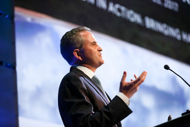 Jonathan Baillie, chief scientist and senior vice president of science and exploration at the National Geographic Society, gives opening remarks at the planet's first-ever Half-Earth Day. The inaugural event was co-convened by National Geographic and the E. O. Wilson Biodiversity Foundation and held at the National Geographic Society in Washington, D.C. on Oct. 23, 2017. Photo by Tony Powell/National Geographic.