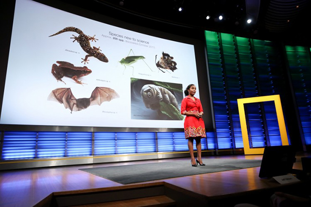 Dominique Gonçalves of the Gorongosa Restoration Project presents at the planet's first-ever Half-Earth Day. The inaugural event was co-convened by National Geographic and the E. O. Wilson Biodiversity Foundation and held at the National Geographic Society in Washington, D.C. on Oct. 23, 2017. Photo by Tony Powell/National Geographic.
