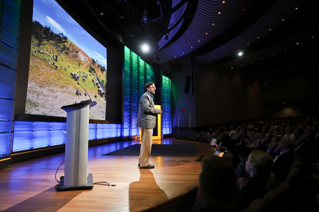 Tom Butler, vice president for conservation advocacy for the Tompkins Conservation family of foundations, presents at the planet's first-ever Half-Earth Day. The inaugural event was co-convened by National Geographic and the E. O. Wilson Biodiversity Foundation and held at the National Geographic Society in Washington, D.C. on Oct. 23, 2017. Photo by Tony Powell/National Geographic.