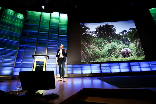 Andrea Heydlauff, chief marketing and communications officer at African Parks, presents at the planet's first-ever Half-Earth Day. The inaugural event was co-convened by National Geographic and the E. O. Wilson Biodiversity Foundation and held at the National Geographic Society in Washington, D.C. on Oct. 23, 2017. Photo by Tony Powell/National Geographic.