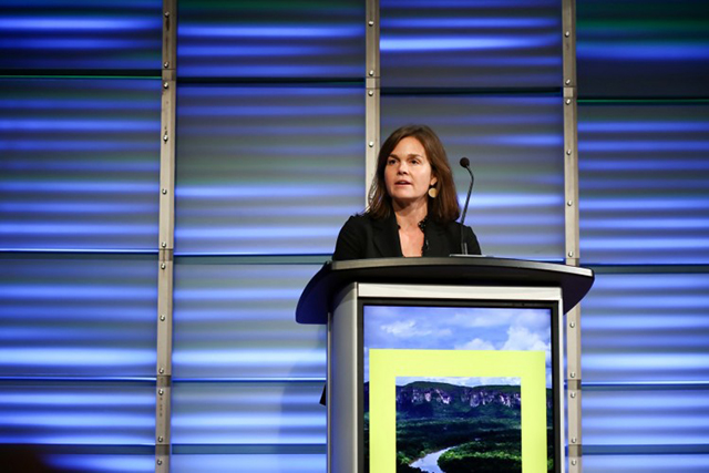 Alison Fox, president of the American Prairie Reserve, presents at the planet's first-ever Half-Earth Day. The inaugural event was co-convened by National Geographic and the E. O. Wilson Biodiversity Foundation and held at the National Geographic Society in Washington, D.C. on Oct. 23, 2017. Photo by Tony Powell/National Geographic.