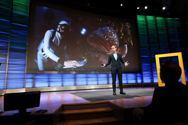 Enric Sala, National Geographic Explorer-in-Residence and founder of the Pristine Seas Project, presents at the planet's first-ever Half-Earth Day. The inaugural event was co-convened by National Geographic and the E. O. Wilson Biodiversity Foundation and held at the National Geographic Society in Washington, D.C. on Oct. 23, 2017. Photo by Tony Powell/National Geographic.